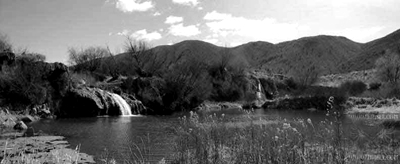 Panoramic view of small falls near McCammon, Idaho Photo by Hinsell bw